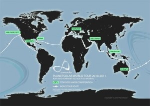 world around map 3 300x211 PlanetSolar on world tour heading for Miami