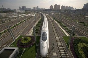a bullet train pulls into beijing south railway station july 300x199 Solar Powered Train Stations On Track In China